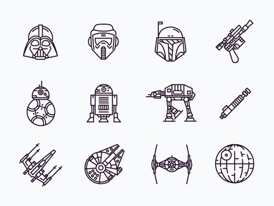 Star Wars Icons bb8 r2d2 storm trooper darth vader outline icons star wars