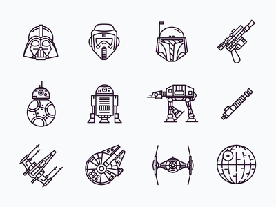 Star Wars Icons bb8 r2d2 storm trooper darth vader outline icons star wars
