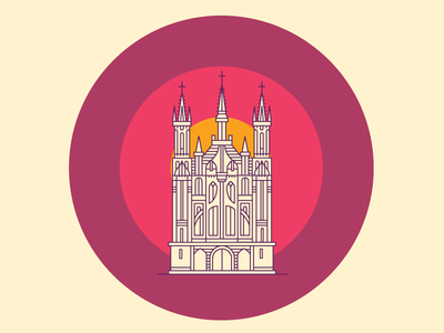 St. Anne Church [Vilnius Landmarks] vilnius lithuania line landmarks landmark illustration icon building