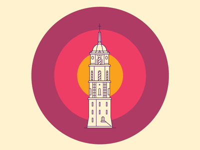 Cathedral Tower [Vilnius Landmarks] vilnius lithuania line landmarks landmark illustration icon cathedral tower building