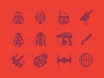 Star Wars Icons storm trooper star wars r2d2 outline icons darth vader bb8 icon