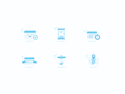 Event App Icons empty state wix character flat clock illustration badge hourglass map calendar event icon