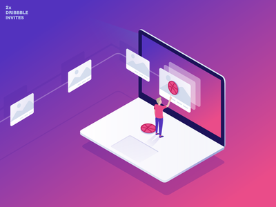 Dribbble Invitation laptop 3d illustration gradient isometric dribbble invite invitation