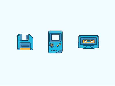 Retro Icons 90s music illustration vintage icons cassette gameboy floppy