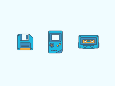 Retro Icons 90s music illustration vintage icons cassette gameboy floppy
