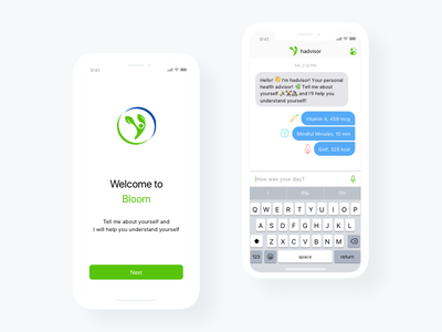 The Bloom.fit app - Debut Shot ux ui minimalism ai chat welcome app fitness health ios
