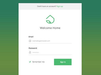 Agent Login login signin account form field button minimal