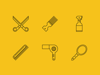 Hair Shed Icon Set