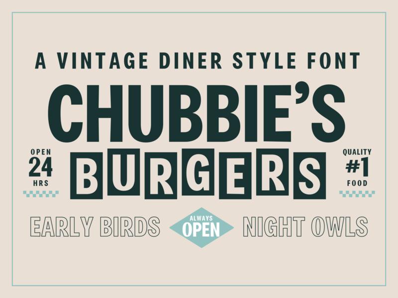 Chubbies Burgers classic retro font design