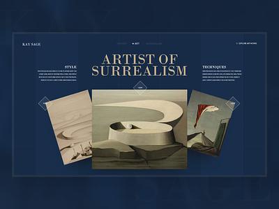 Kay Sage - Website Design Concept opaque surreal art kay sage art clean modern ui design concept adobe xd