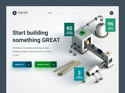 Building Solutions - Website Concept ui modern cleaning clean ui conept c4d cinema4d 3d design 3d art 3d business clean adobe xd