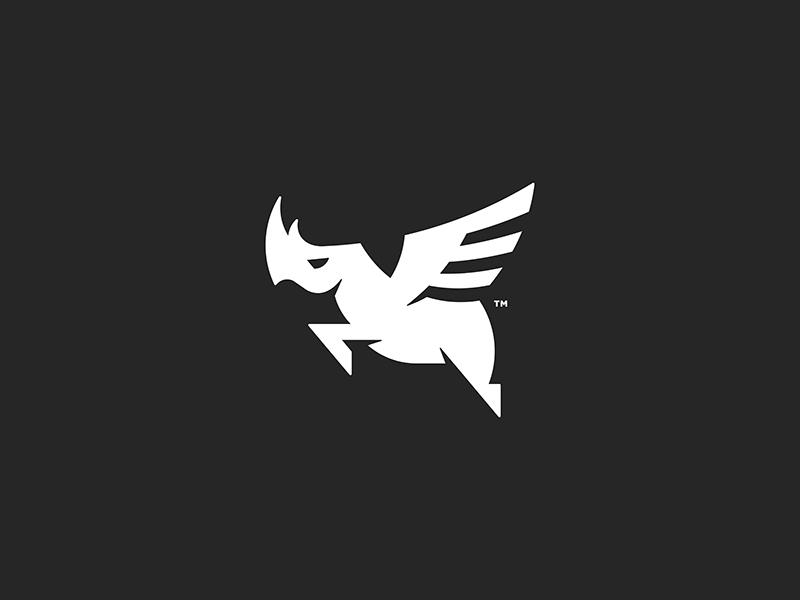 Soaring Rhino Logo Icon mark logo branding wings rhino icon