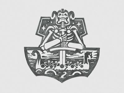 Nordic Ghost Ships badge dragon ship skull nordic vikings