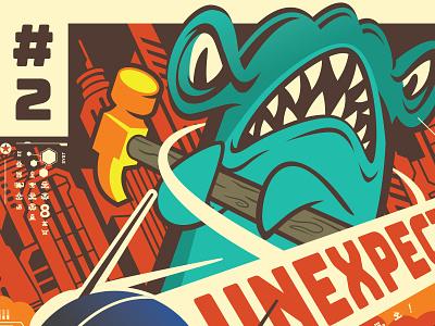 Hrosan Poster shark illustration monster poster herosan