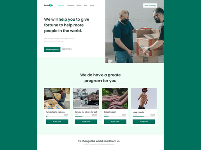 Charity with Berbagive design user interface landing page ui
