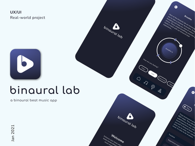 "Music app - ""binaural lab"" ui design ux designer icon branding vector logo app design music minimal product ux design mobile app ui"