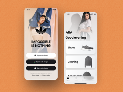 Adidas-Online Store App app login layout online store online interface nike clean simple design mobile style shot page visual design fashion minimal branding ux ui