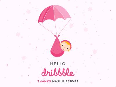 Hello Dribbble visual illustration hello new designer debut bangladeshi