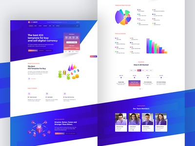 ICO Landing Page cryptocurrency web white papers illustrations gradient landing page token sale ico ethereum digital currencies blockchain bitcoin