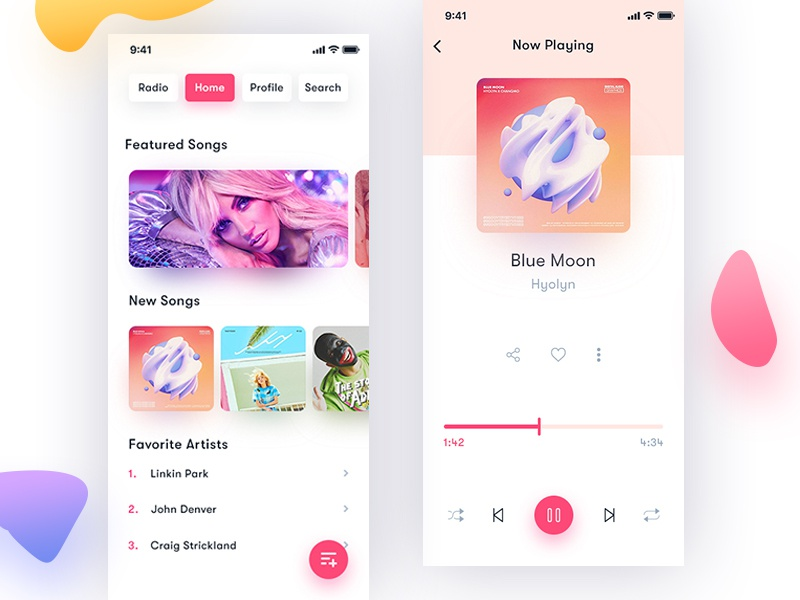 iOS Music Player app ui design music app app ios clean music