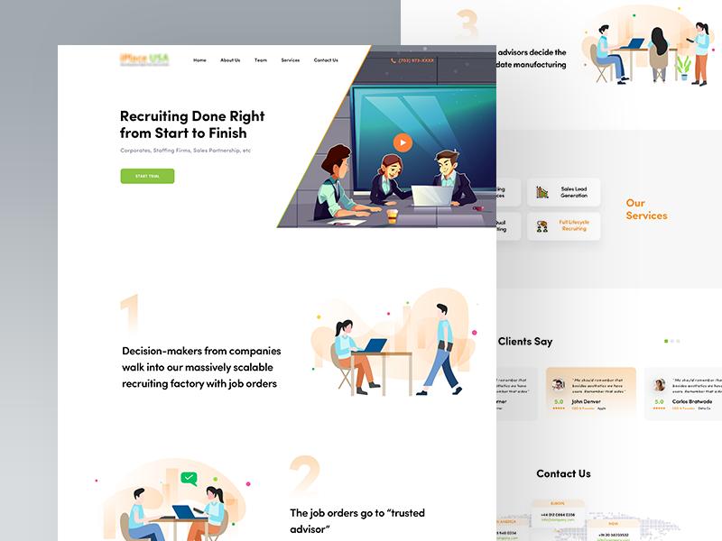 Website Homepage ux designer redesign minimal marketing landing  page homepage character design agency clean ui marketing agency illustration sales leads recruiter website sourcing