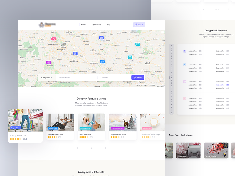 Directory & Listing [Freebie] free clean location finder directory ux ui search listing page listing home finder discover direction cards rental maps interface app