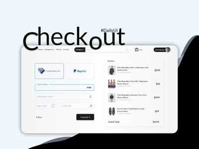 Ecommerce Outlet Payment Checkout UI ux branding app dailyui 002 prototype mockups design typography flat ui checkout page @ui