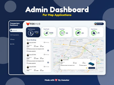 Admin Dashboard for Map Applications | Tracking WebApp Dashboard dashboard ui maps admin panel design app ux mockups flat illustration ui typography