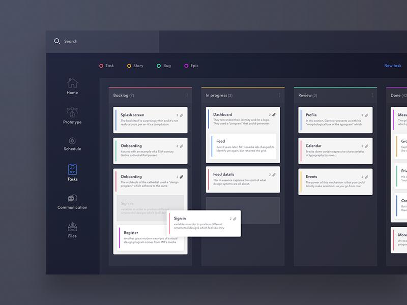 Task board design for web deskop dashboard bachanek kamil 10clouds agile list do to board task