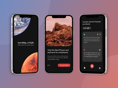 Marslator App planets space translation app earth mars design ui ux app