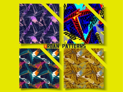 Abstract urban geometry pattern seamless design yellow street style grunge unique unusual urban graphic design design poster line drawing print illustration art artwork