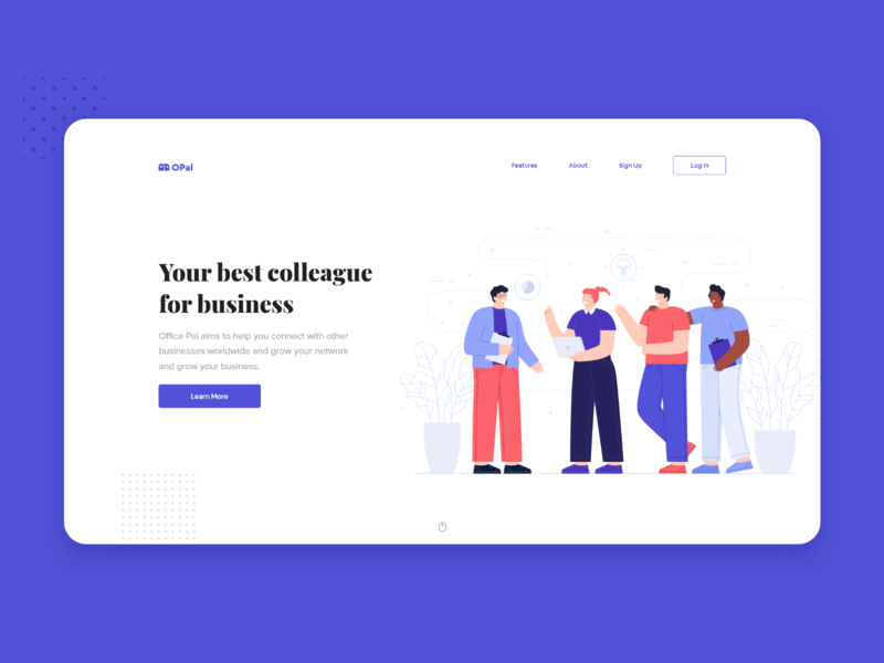 Office Pal Landing Page colleague workspace ceo team teamwork collaboration office space project office branding ui illustration design flat flat design minimal dribbble nepal
