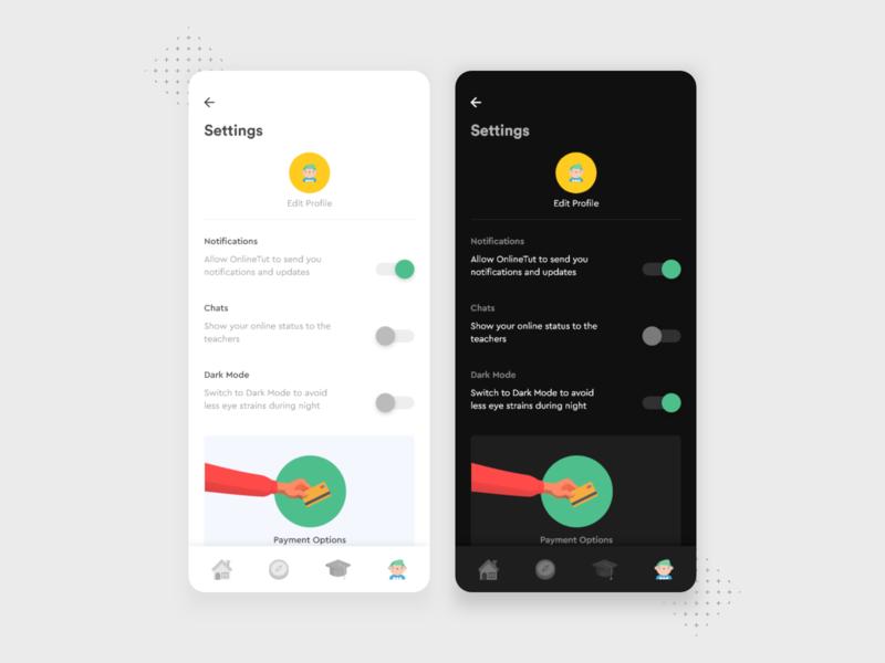 Settings UI payment darkmode dark ui dark mobileui edit profile ux education mobile app design illustration flat design minimal dribbble nepal
