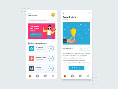 Lesson UI Concept online education school student teacher learning platform learning app learn study ux mobile app education ui illustration flat design minimal dribbble nepal