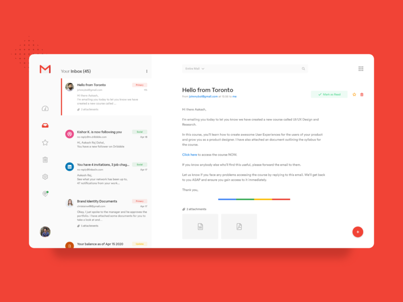 Gmail Redesign Concept conversation messenger app message email template concept dark mode redesign flat design flat design minimal email design nepal email gmail