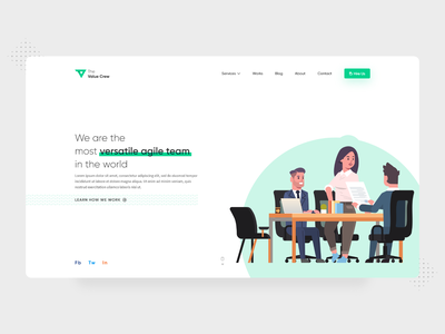 Landing Page Design for The Value Crew branding portfolio teamwork agile saas design versatile team startup saas ui illustration flat design minimal dribbble nepal