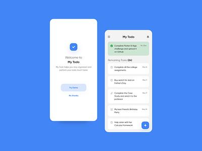 Simple ToDo App Design checklist list fab materialdesign app design mobile design mobile app clickup trello todoist flat design ui flat design minimal nepal todolist productivity todo