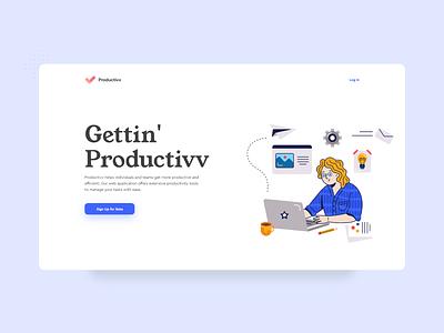Productivv Landing Page vector uxdesigner button blue illustration productivity app project management project uxdesign ux productivity productive nepal