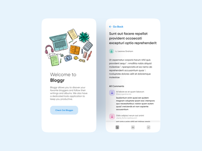 Bloggr UI Challenge comments social network followers blog design app content bloggers blog blogger mobile app ux dailyui design illustration dribbble minimal nepal