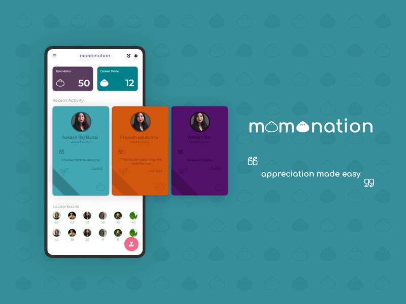 Momonation - Appreciation Platform food appreciate minimal uiux ux ui mobile app flat dailyui flat design nepal dribbble