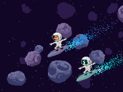 Asteroid Surfin' character game pixels