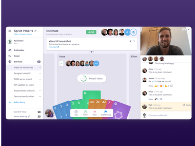 Estimating stories for an agile sprint github jira product design saas sprint agile meeting realtime multiplayer ui