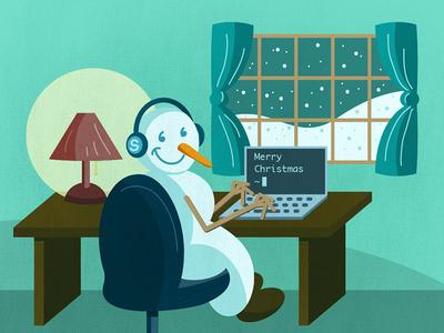 Snow Coding snow illustration laptop code snowman