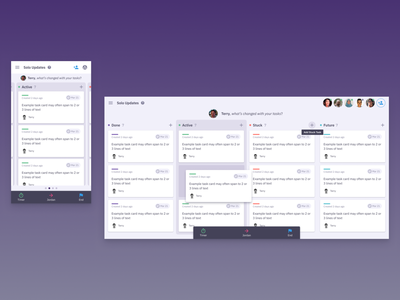 Check-in meeting UI agile ui realtime multiplayer meeting app saas app mobile ui