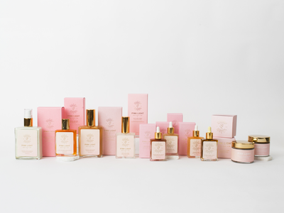 Pink Light Collection beauty gold foil packaging