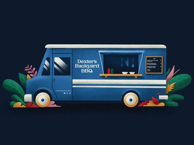 Dexters Backyard BBQ Food Truck Illustration
