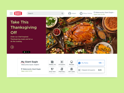 Giant Eagle Homepage Redesign