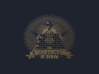 Architecture of denim illustration vectors jeans light denim illumination eye seeing all pyramid society secret