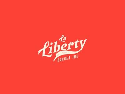 La Liberty hamburger logo burger concept lettering icon vectors restaurant handmade id typography design branding logotype type logo vector illustration