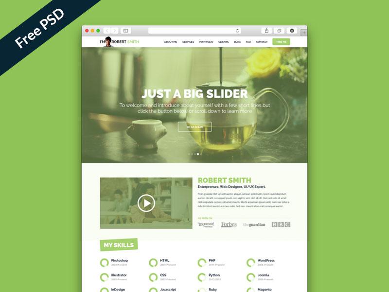 Free PSD: IMX - One Page Resume Website  freebies psd free psd ui ux web design resume portfolio personal
